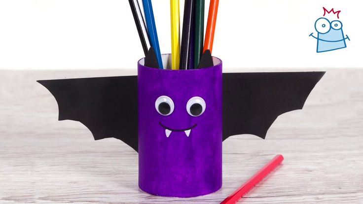 Make this spooky bat pen pot to organise your pens and pencils this Halloween.
