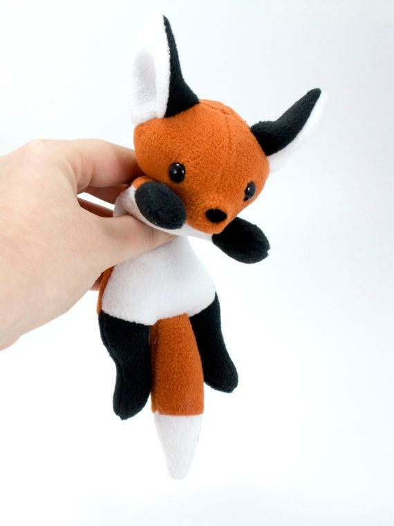 Fox Beanie Plush Toy Stuffed Animal Fox Plushie by BeeZeeArt