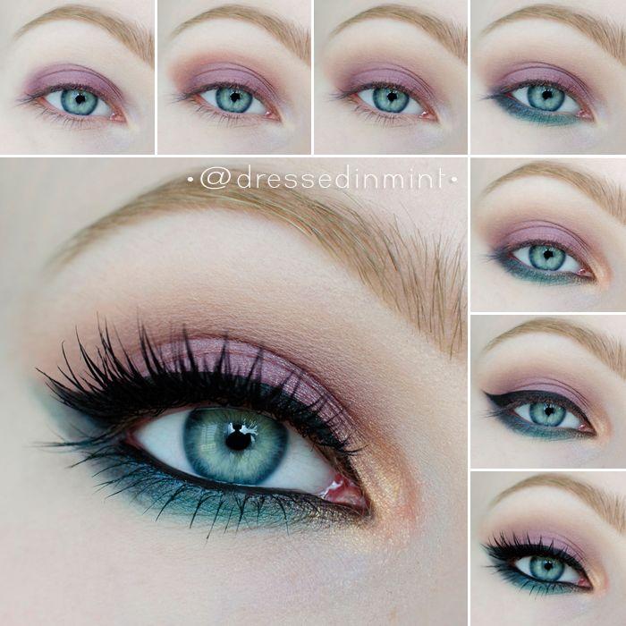Makeup Geek eye look - Makeup Geek ES used:  Burlesque, Drama Queen, Gold digger, Ocean breeze, Sea Mist, Sensuous