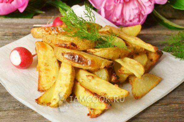 Рецепт картофеля по-деревенски с чесноком в духовке