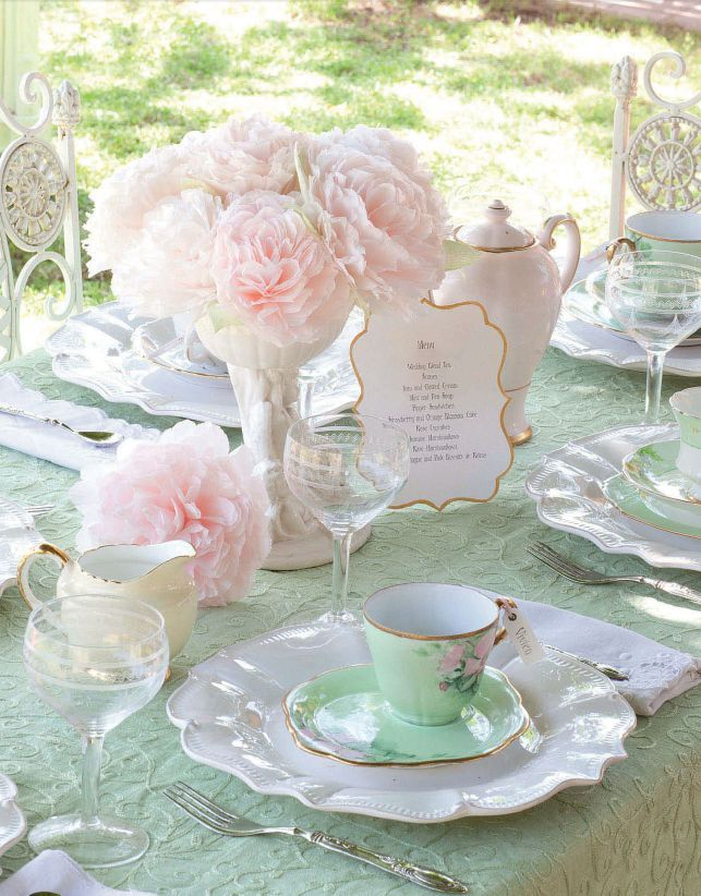 Mint Green & Blush Pink tea party table setting.