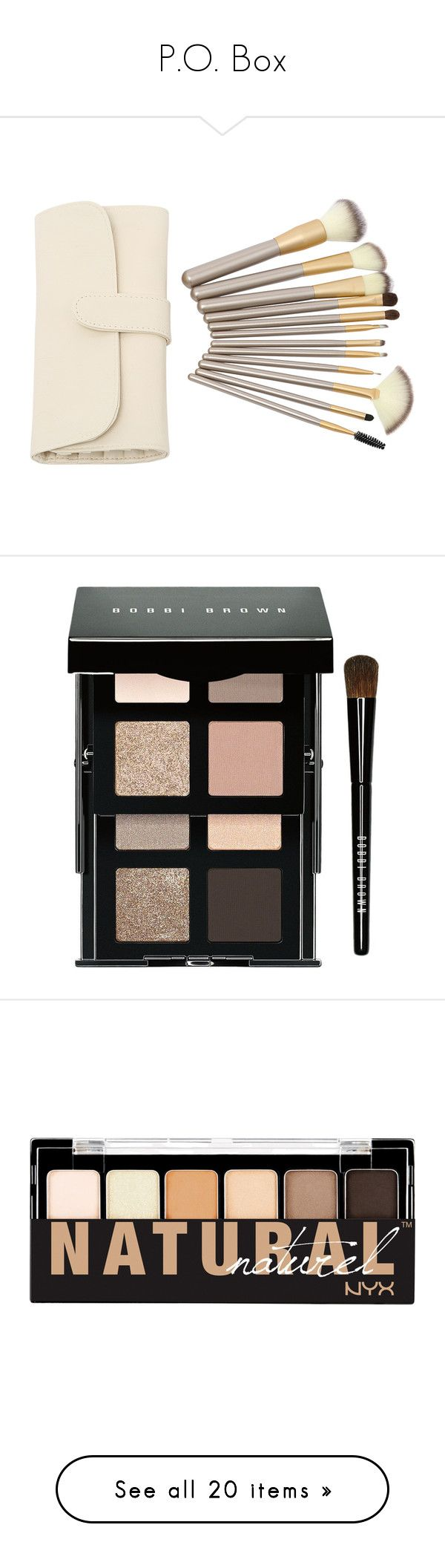 """""""P.O. Box"""" by xxxlovexx ❤ liked on Polyvore featuring beauty products, makeup, makeup tools, makeup brushes, beauty, cosmetics, fillers, other, beige and eye makeup"""