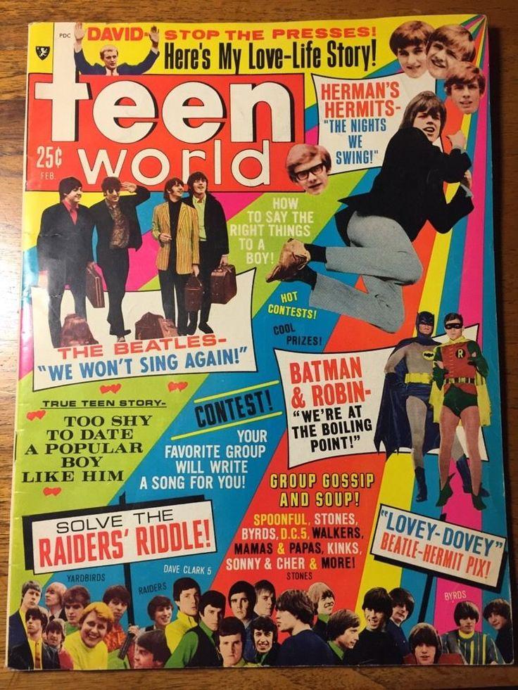 Teen World Magazine Feb. 1967 Batman & Robin Beatles Monkees Sonny & Cher Stones
