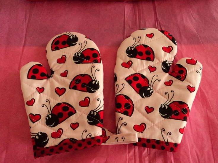 Children s LADY BUGS -  Oven Mitts, Handmade, Red, Quilted, Lined, 100% Cotton | eBay