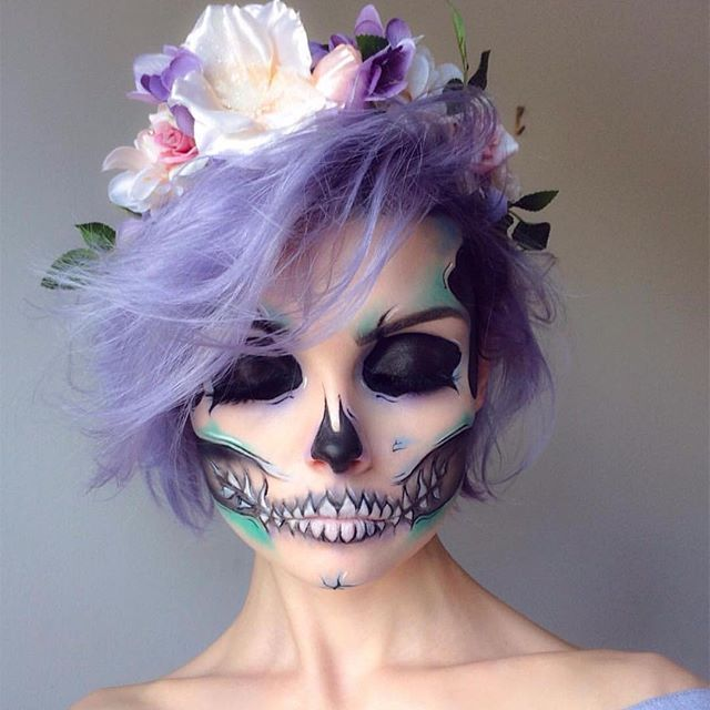We're obsessed with @beautsoup 's talent! She created this magical pastel skull look using #sugarpill Castle on the Hill eyeshadow.