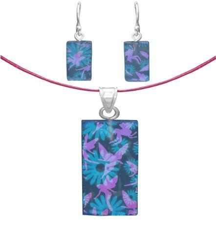 """Sterling Silver Dichroic Glass Pink Fairies on Blue Flowers Pattern Rectangular Pendant Necklace and Earrings Set, 18"""" Amazon Curated Collection. $24.00. Height of pendant:1.4"""", height of earring:1.2"""". Made in Mexico. Width of pendant:.6"""", width of earring:.3"""""""