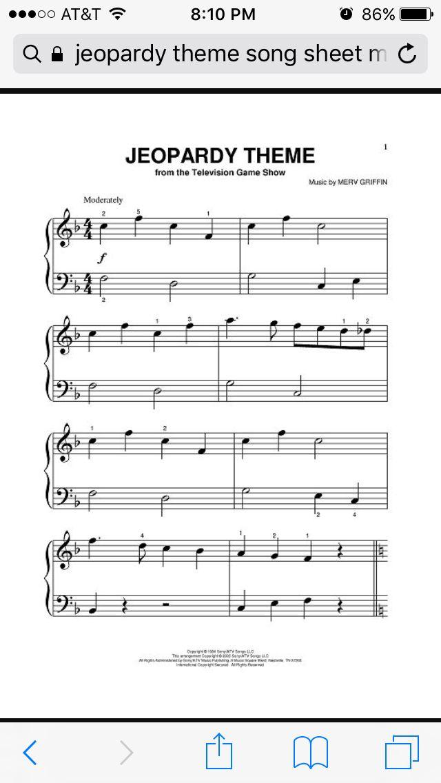 Jeopardy flute sheet music