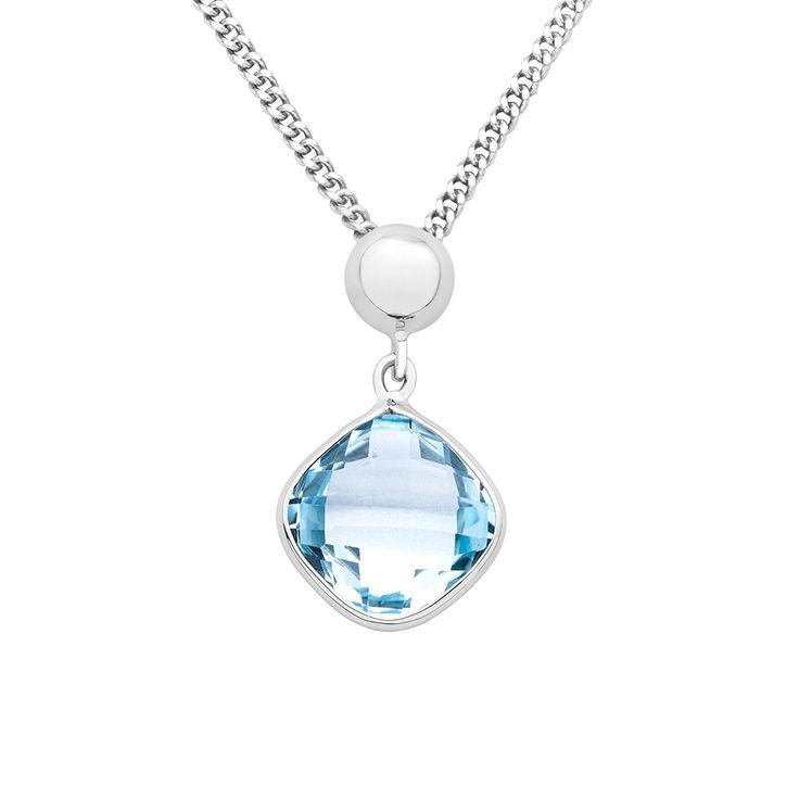 Miore Women's 9 ct White Gold Blue Topaz Pendant on 45 cm Chain