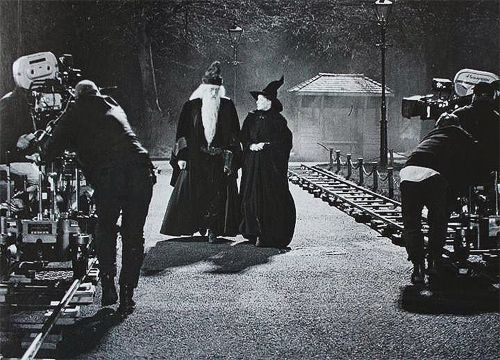 A beautiful behind the scenes photo from HARRY POTTER AND THE PHILOSOPHER'S STONE with Richard Harris and Maggie Smith