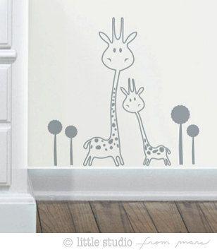 Vinyl Wall Decal SALE - Baby Nursery - Animals - Two Giraffes. $9.00, via Etsy.