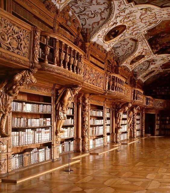 Library in the monastery of Waldsassen, Bavaria, Germany