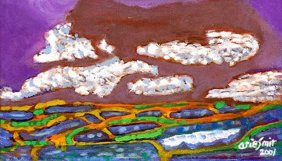 """Wet rice fields the rain-clouds"" by Arie smit, Medium: acrylic on paper, Size: 22cm x 38cm, Year: 2001"