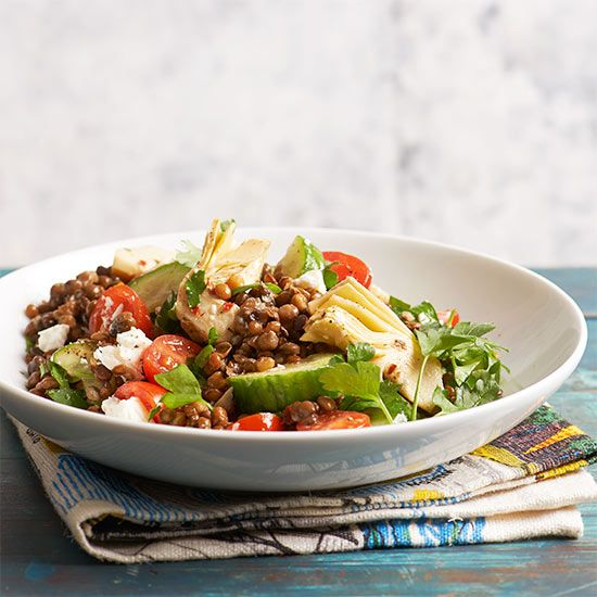 No-Cook Recipes for Summer. Mediterranean Lentils If you're a fan of artichoke hearts, you'll adore this no-cook lentil bowl. Just mix the 'chokes with a package of precooked tender lentils, fresh produce and herbs, and a handful of feta crumbles. Dinner is served in 20 minutes!