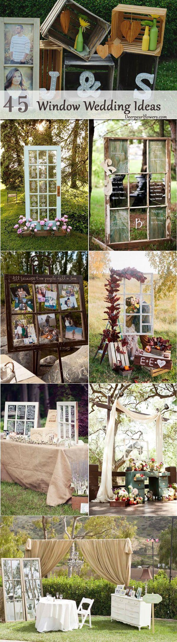rustic window wedding decor ideas / http://www.deerpearlflowers.com/diy-window-wedding-ideas/