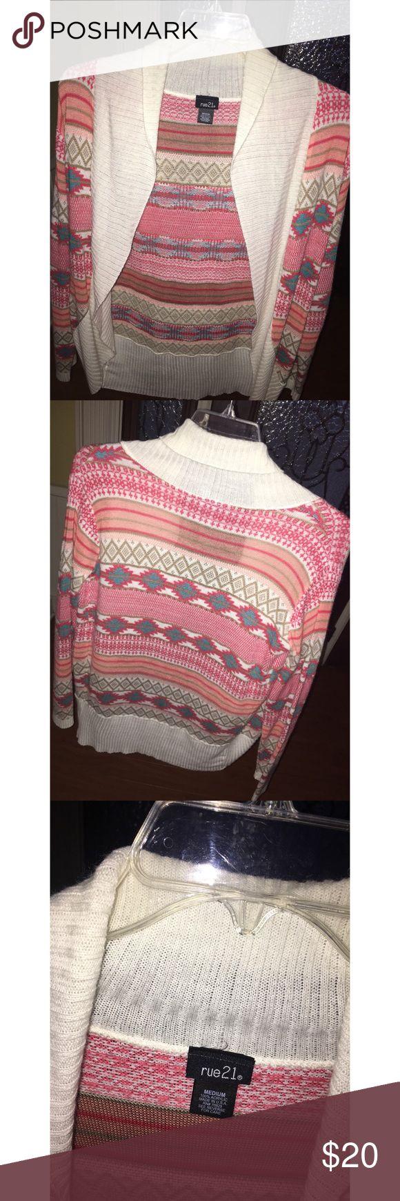 Rue 21 Cream/Multi-Colored Cardigan Great condition! Size Medium Rue 21 Sweaters Cardigans