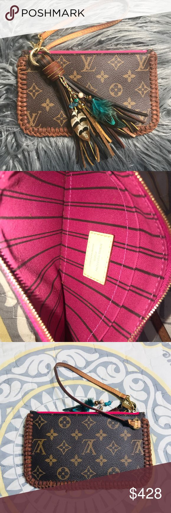 """Louis Vuitton Neverfull PM Pochette wristlet pink Authentic! Louis Vuitton Neverfull PM pochette  Pivoine pink lining.  Hand braided by me.  Tassel included- made by me!  No flaws.  Strap is patina from use 7.5""""x4.5"""" Louis Vuitton Bags Clutches & Wristlets"""