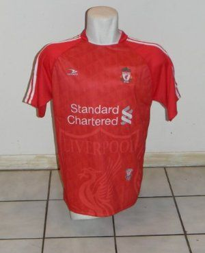 LIVERPOOL SOCCER JERSEY SIZE LARGE BY DRAKO by DRAKO INC. $21.99. HARD TO FIND. 100% POLYESTHER. GREAT GIFT. GREAT QUALITY AND PRICE. LIVERPOOL SOCCER JERSEY SIZE LARGE BY DRAKO -  100% POLYESTHER RETIRED DESIGN AND HARD TO FIND
