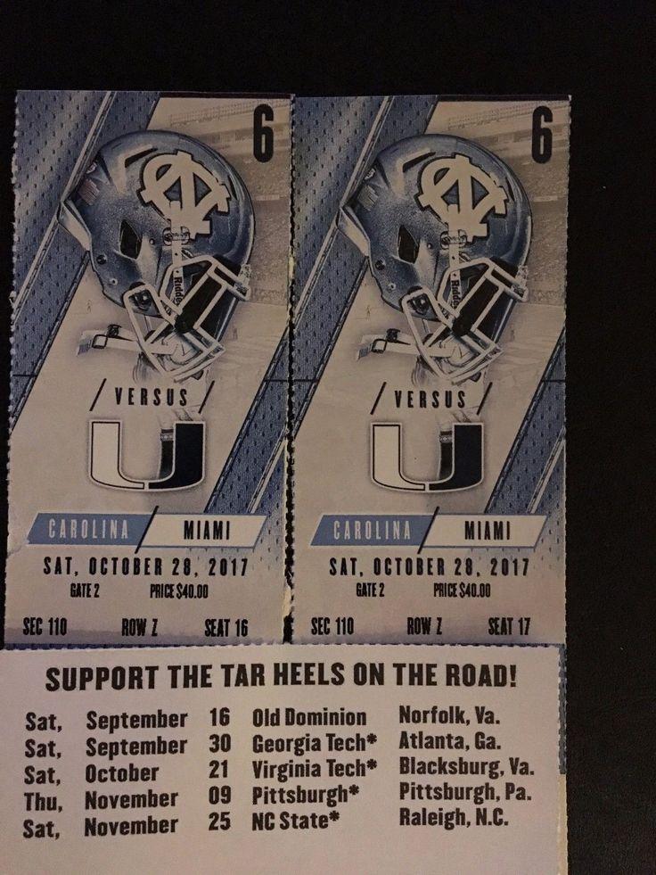 #tickets Two (2) North Carolina Tar Heels vs Miami Hurricanes Football Tickets please retweet