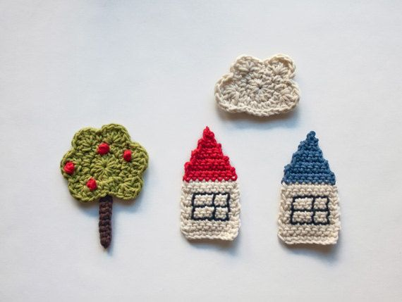 PDF Crochet Pattern - The Tree, the Houses and the Cloud Applique