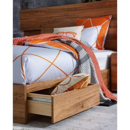 Aura Orange Diamond Quilt Cover on the Amelie Bedhead and Bed Base - Shot for Winter Launch 2014.