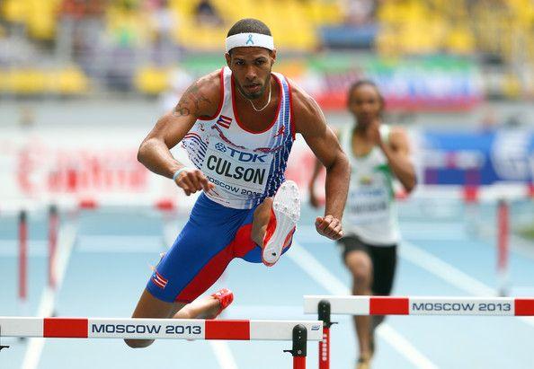 Javier Culson of Puerto Rico competes in the Men's 400 metres hurdles heats…