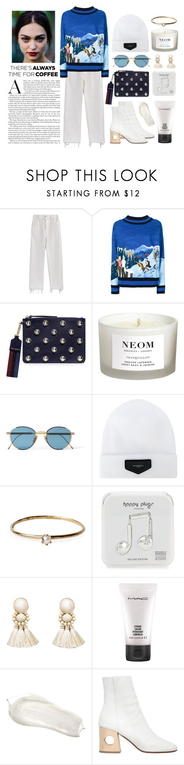 """""""Embroidered Sweater"""" by mugeozkan ❤ liked on Polyvore featuring Moncler, Carven, NEOM Organics, Thom Browne, Givenchy, Satomi Kawakita, Happy Plugs, Violeta by Mango, MAC Cosmetics and Ports 1961"""