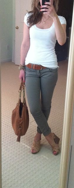 army green pants, white t, and nude heels/wedges