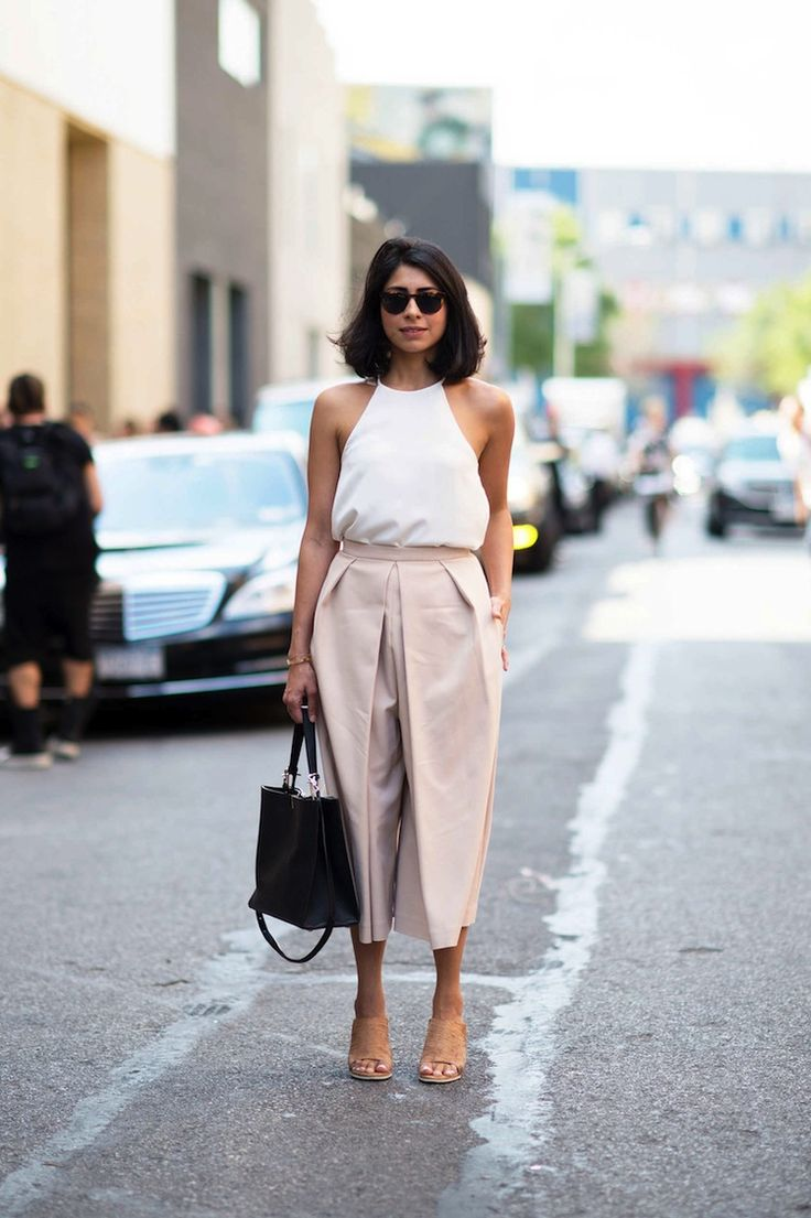 2 Ways To Wear Pale Pink Culottes via @WhoWhatWear