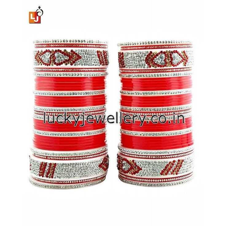 Buy Red Bridal #Punjabi #Choora #Wedding Chudas With American #Diamond online from LuckyJewellery. Order it now at Rs. 1003/- This #monsoon season flaunt elegance with this wedding choora. #jewelry #ethnic #style #fashion http://ift.tt/2clQdEs