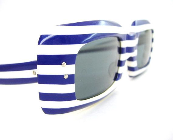 Vintage 60s Blue Stripes Sunglasses