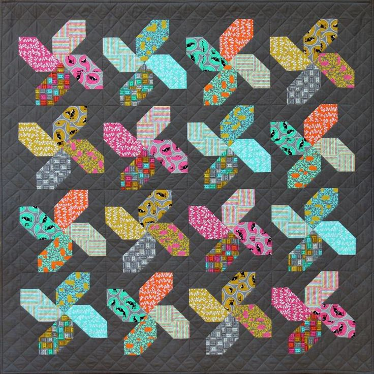 Whirligig Quilt Pattern by Emma Jean Jansen. Fabric Range: Melba by Emma Jean Jansen, released December 2015.
