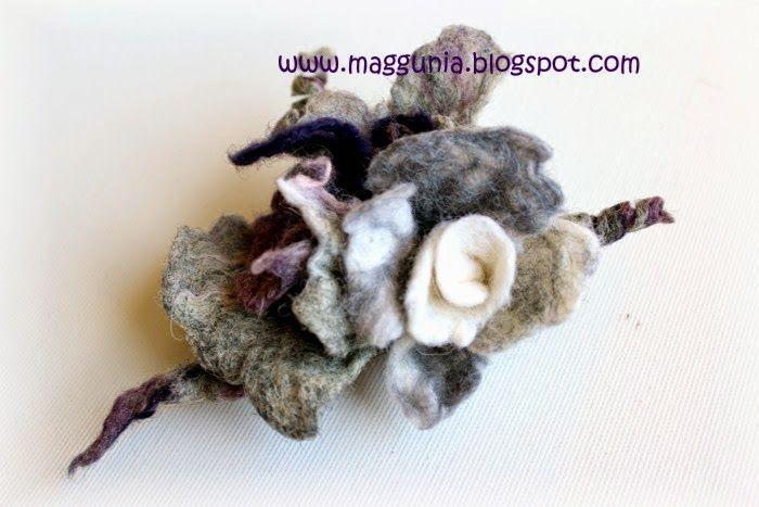 BROSZKA filc filcowa kwiat szary wrzosowy biały (5005379019) - Allegro.pl - Więcej niż aukcje.