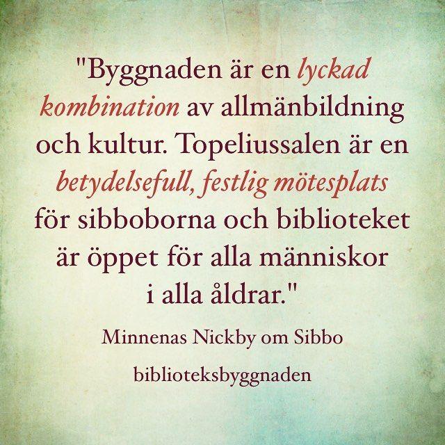 """""""Byggnaden är en lyckad kombination av allmänbildning och kultur. Topeliussalen är en betydelsefull, festlig mötesplats för sibboborna och biblioteket är öppet för alla människor i alla åldrar."""" #muistojennikkilä #nickbyminnen #nikkilä #nickby #sipoo #sibbo #poimintakyselystä #plockfrånenkäten #sipoonpääkirjasto #sibbohuvudbibliotek"""