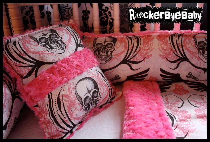 baby girl skull nursery   CUSTOM PUNK baby crib bedding set via Etsy.   If I ever have a little ...