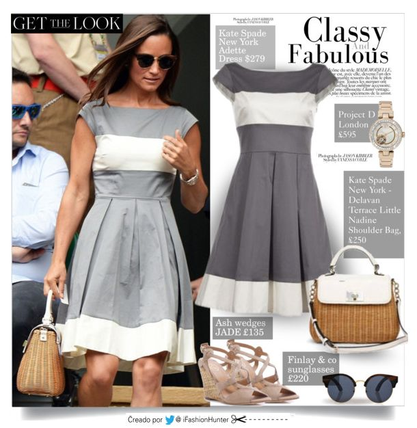 ► GET THE LOOK OF #PippaMiddleton | #Wimbledon2014 DRESS: by kate spade new york Adette Dress BAG: Kate Spade New York Delavan Terrace Little Nadine Shoulder Bag, £250 SHOES: by Ash wedges JADE £135 SUNGLASSES: Finlay  co £220