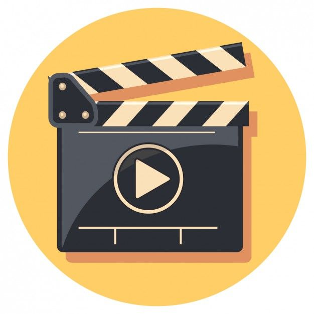 Flat Clapperboard Icon Free Vector