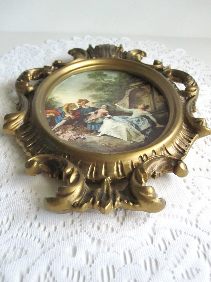 Gold Frame Victorian Family Friends Outdoor Country Scene Hollywood Regency Midcentury Syroco Style Wall Art  Boho Vanity Decor Gift Her Mom