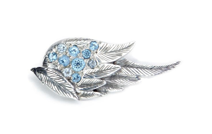 Angel wing, Ag925 and blue topaz