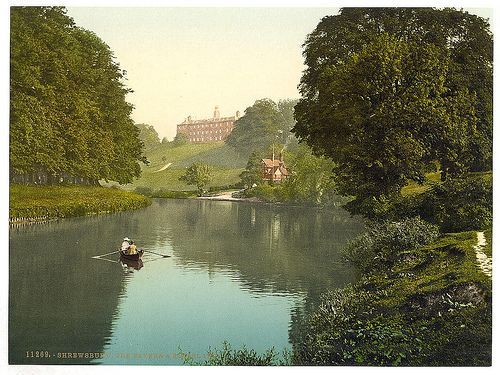 Rowing on the River Severn, Shrewsbury, Shropshire, UK