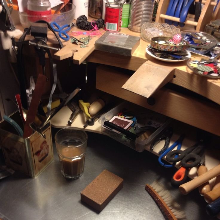 Clean worktable, coffee and ready to work on more recycled jewelery.