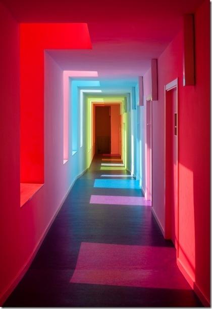 corridorLights, Hallways, Interiors, Colors, Rainbows, Granada Spain, Kindergarten, Architecture, Colours