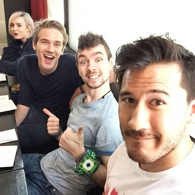 Pewds, Jack, Mark and some girl I don't care about in the same room.
