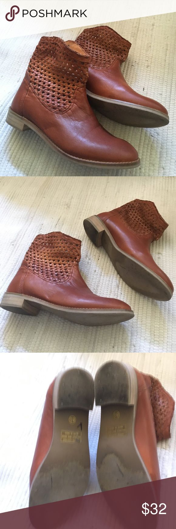 Seychelles booties Ankle boots! Woven design in a great color. It's a bit hard to describe- kind of like rust on the orange side. Worn a few times only. In good condition. Leather upper. Seychelles Shoes Ankle Boots & Booties