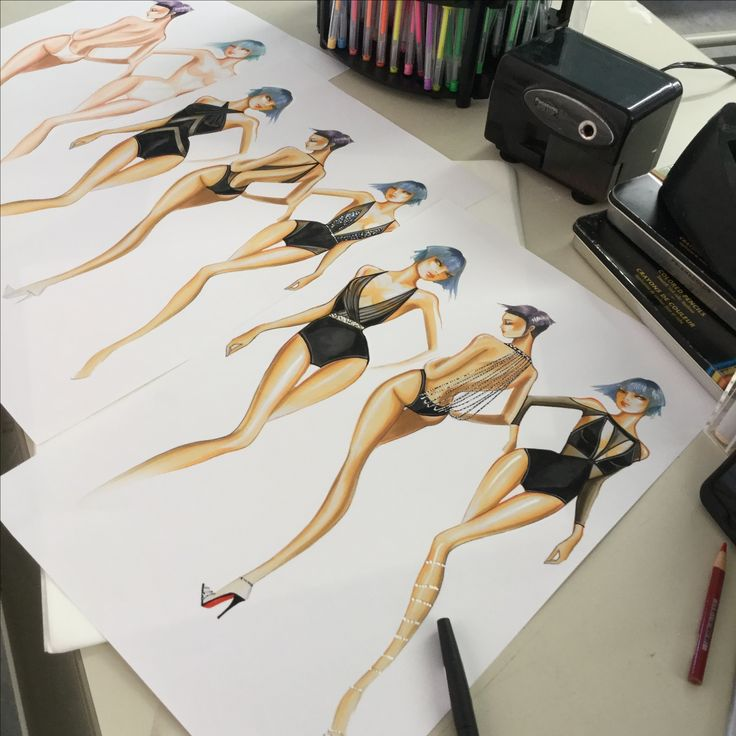 Design Swimwear inspired by Evening wear by Paul Keng at Otis College Fashion in Los Angeles #fashionstudy #otisfahion @paulkengillustrator