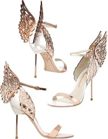 'Evangeline' Angel Wing Sandals-White & Gold