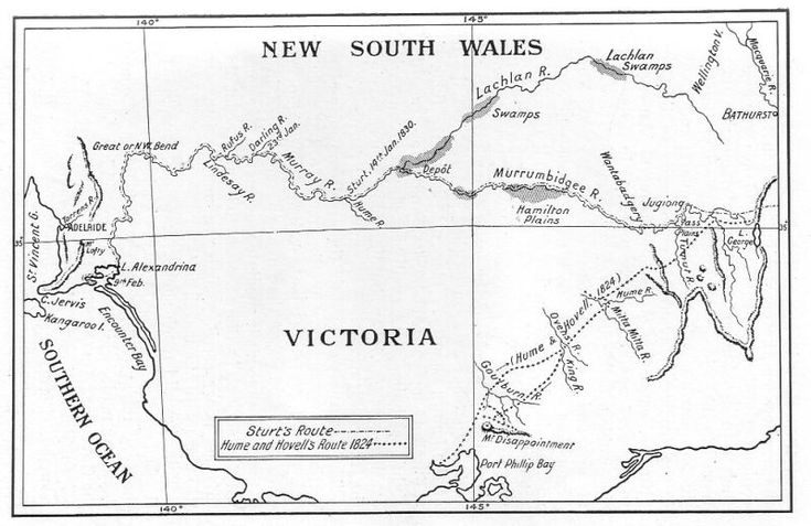 Routes of Sturt (1829 and 1830); and Hume and Hovell (1824)