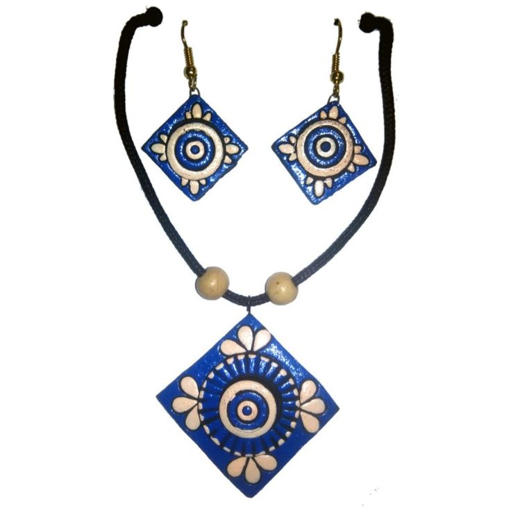 Clay Jewelry from Krishnanagar Handicraft Product New Design Stylish - Square Shaped Burnt Clay - Water-proof colour