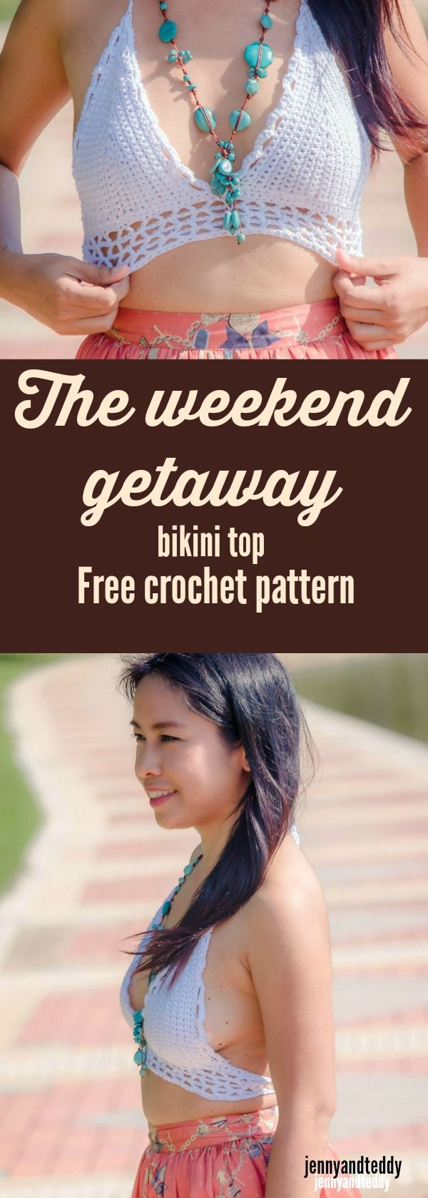 Free crochet bikini top pattern easy with photo tutorial and stitch chart by jennyandteddy