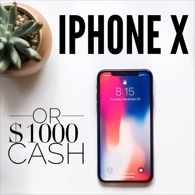 INTERNATIONAL  Win this iPhone X or $1000 CASH (USD)! .  Super easy to enter you will be done in a few seconds! . All you have to do is: 1. FOLLOW EVERYONE that @infinityloopz is following. Thats it! Youre done!  . BONUS ENTRY: Tag 3 or more friends (celebrities dont count!) on this photo and like and comment on 5 pictures of all the accounts you just followed! . completing the bonus entry gives you a TRIPLE CHANCE of winning! . . Ends January 1st at 9PM EST. The winner will be announced…