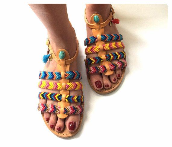 FREE SHIPPING Genuine Leather Greek Sandals by BohemianFootprints